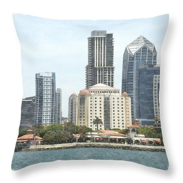 Seaport Village And Downtown San Diego Watercolor Throw Pillow by Claudia Ellis