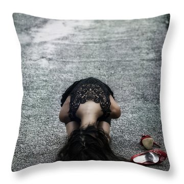 Searching For Protection Throw Pillow