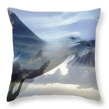 Searching The Sea - Seagull Art By Sharon Cummings Throw Pillow