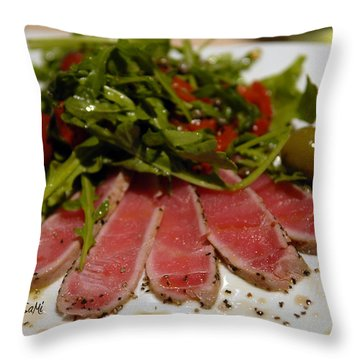 Seared Tuna Throw Pillow