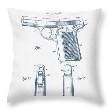 Searle Pistol Patent Drawing From 1921 -  Blue Ink Throw Pillow