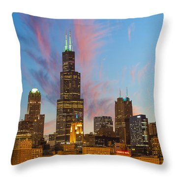 Throw Pillow featuring the photograph Sears Tower Sunset by Sebastian Musial