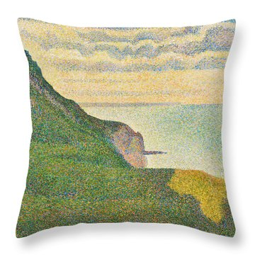 Seascape At Port En Bessin Normandy Throw Pillow by Georges Seurat