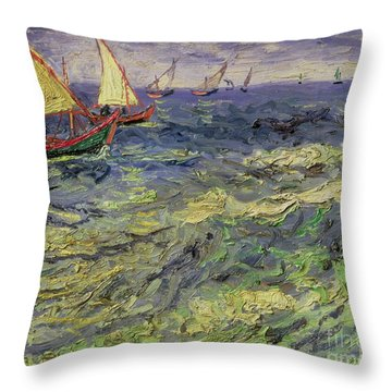 Seascape At Saintes-maries 1888 Throw Pillow by Vincent van Gogh