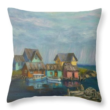 Seascape Boat Paintings Throw Pillow
