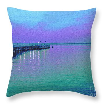 Painterly Seascape Purple Flurry Throw Pillow by Carol F Austin