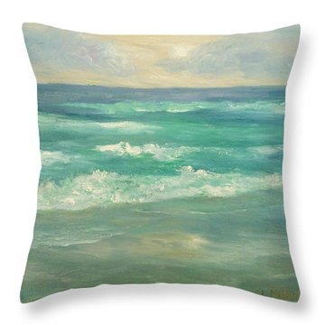 Seascape  Glowing Sunset Throw Pillow