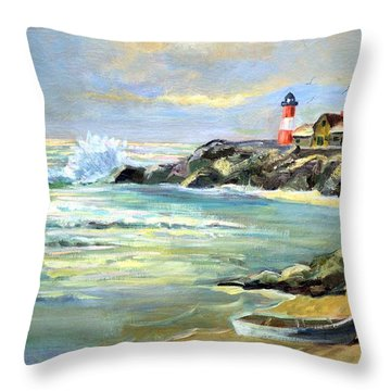 Seascape Lighthouse By Mary Krupa Throw Pillow