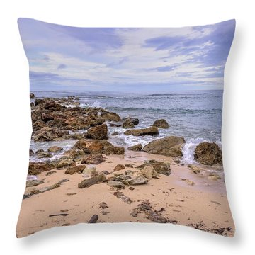Seascape With Rocks Throw Pillow