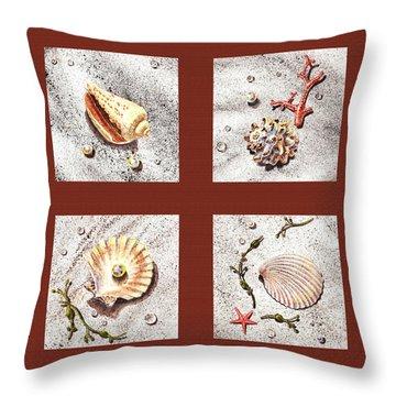 Seashell Collection Iv Throw Pillow by Irina Sztukowski