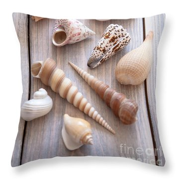 Throw Pillow featuring the photograph Seashell Collection by Jan Bickerton