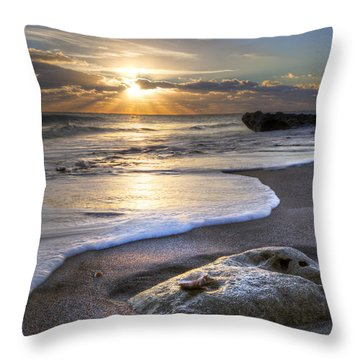 Seashell Throw Pillow by Debra and Dave Vanderlaan