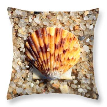 Seashell On Sandy Beach Throw Pillow by Carol Groenen