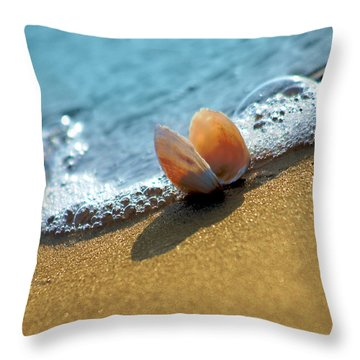 Seashell On The Coast With Wave And Bubble Throw Pillow