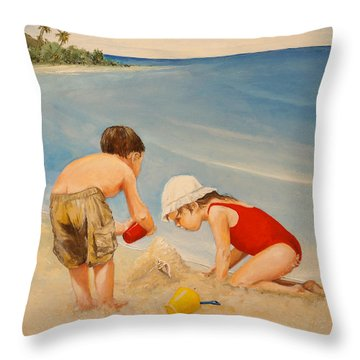 Throw Pillow featuring the painting Seashell Sand And A Solo Cup by Alan Lakin