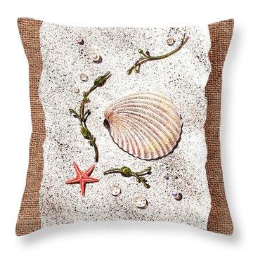 Seashell With Pearls Sea Star And Seaweed  Throw Pillow by Irina Sztukowski