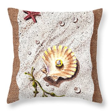 Seashell With The Pearl Sea Star And Seaweed  Throw Pillow by Irina Sztukowski