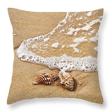 Seashells And Lace Throw Pillow by Kaye Menner