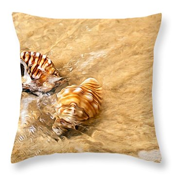 Seashells And Ripples Throw Pillow by Kaye Menner