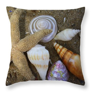 Seashells And Star Fish Throw Pillow