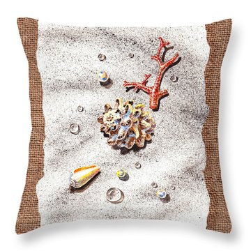 Seashells Coral Pearls And Water  Drops Throw Pillow by Irina Sztukowski