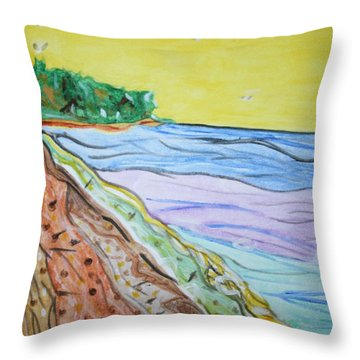 Throw Pillow featuring the painting Seashore Bright Sky by Stormm Bradshaw