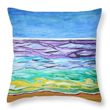 Throw Pillow featuring the painting Seashore Blue Sky by Stormm Bradshaw