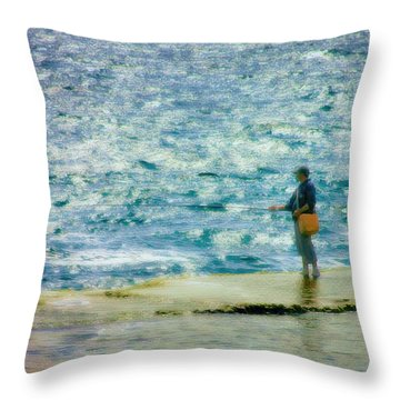 Seashore Fisherman Throw Pillow