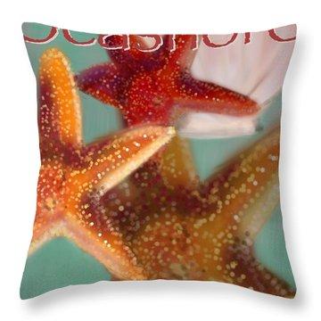 Seashore Poster Throw Pillow by Christine Fournier