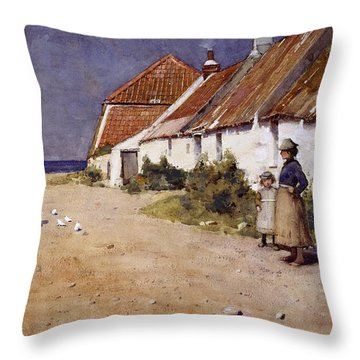 Seaside Cottages With Dovecot Throw Pillow