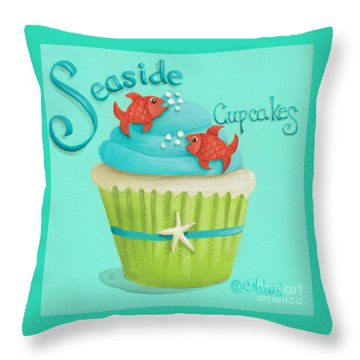 Seaside Cupcakes Throw Pillow by Catherine Holman