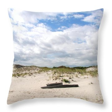 Throw Pillow featuring the photograph Seaside Driftwood And Dunes by Pamela Hyde Wilson