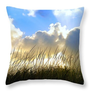 Seaside Grass And Clouds Throw Pillow