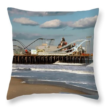 Seaside Heights Roller Coaster 2 Throw Pillow