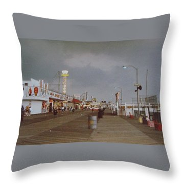 Seaside Heights Storm Throw Pillow by Joann Renner