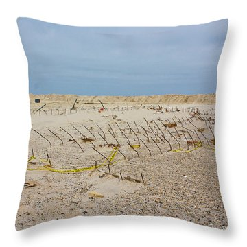 Throw Pillow featuring the photograph Seaside Heights...beyond The Dunes. After Hurricane Sandy by Ann Murphy