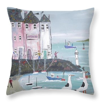 Seaside Houses Throw Pillow by Trudy Kepke