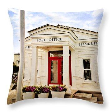 Seaside Post Office Throw Pillow by Scott Pellegrin