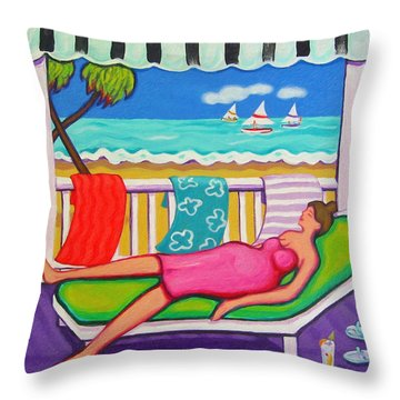 Seaside Siesta Throw Pillow by Rebecca Korpita