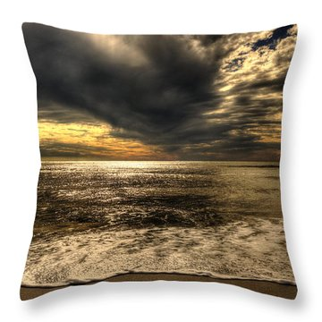 Throw Pillow featuring the photograph Seaside Sundown With Dramatic Sky by Julis Simo