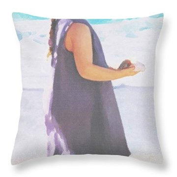 Throw Pillow featuring the painting Seaside Treasures by Sophia Schmierer