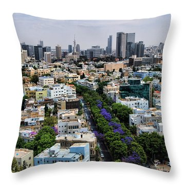 season change at Rothschild boulevard  Throw Pillow