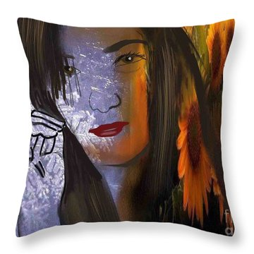 Throw Pillow featuring the digital art Seasonal Duality by Diana Riukas