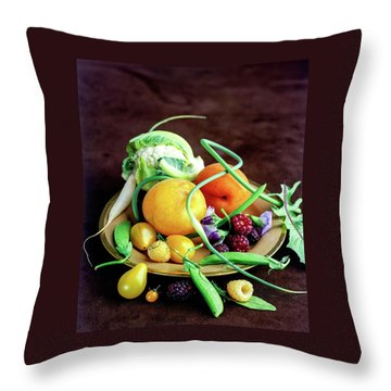 Seasonal Fruit And Vegetables Throw Pillow by Romulo Yanes