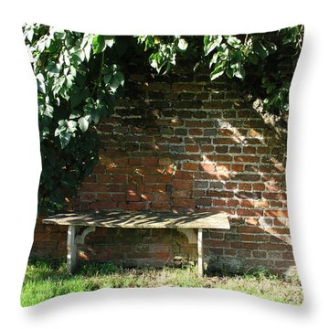 Seasoned Bench Throw Pillow by Bev Conover