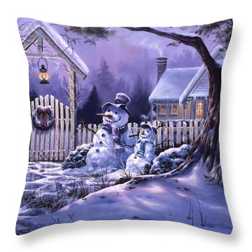 Season's Greeters Throw Pillow by Michael Humphries