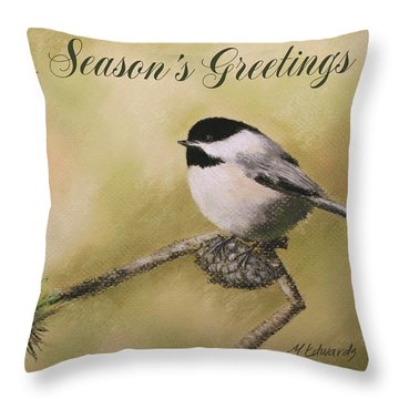 Season's Greetings Chickadee Throw Pillow