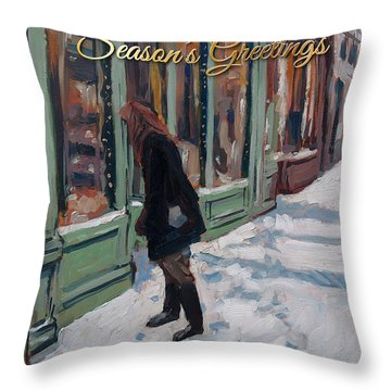 Throw Pillow featuring the painting Season's Greetings From Gent by Nop Briex