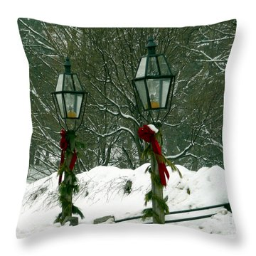 Season's Greetings Throw Pillow by Jayne Carney