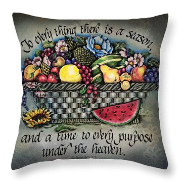 Seasons Scripture Throw Pillow by La Rae  Roberts